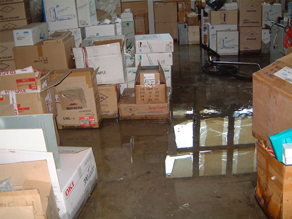 Water damaged goods caused by burst water pipe in waterhouse