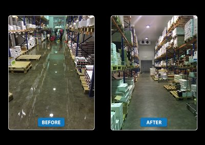 Before & After | A flood damage recovery job by Disaster Restoration Singapore in a warehouse